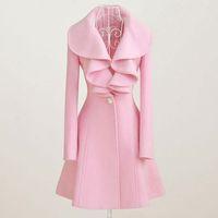yünlü kumaş palto toptan satış-Kadınlar için yün ceket Sonbahar Kış Kıyafet Yeni Zarif Bayanlar Kadınlar yünlü kumaş ceket Uzun Ruffled Kürk Palto Güz