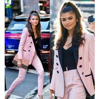 roupas de negócio rosa para mulheres venda por atacado-Rosa Claro 2019 Mãe Da Noiva Calça Ternos Mulheres Ternos De Negócio Preto Pico Lapela Blazer De Tuxedo Para O Casamento (Jacket + Calças)
