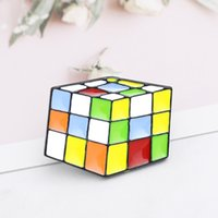 Wholesale vintage lucite brooch pin resale online - Magic Cube Brooch Vintage Metal Christmas Brooch Pins Enamel Colorful Pins Badge Lapel Pin badge button D toy pin for kids Gift