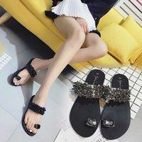 кольца для горного хрусталя оптовых-Модные женские сандалии Bling Rhinestone Ring Toe Shoes Кожаные шлепанцы Плоские спинки удобные летние пляжные ежедневные прогулки