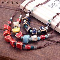 colar de contas de cerâmica venda por atacado-Novo design Retro especial em forma de cerâmica Beads Gargantilha Colar para mulheres senhoras Collar Jewelry Gift