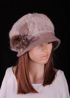 ingrosso cappello di pelliccia marrone-M641 Fashion Light Brown Donna Lady Winter Warm Cute pelliccia di coniglio in lana Fiori decorati Cappello berretto Beret Beanie