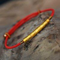 amuletos tibetanos al por mayor-Budismo tibetano 990 Plata Esterlina Seis Palabras Pulsera Lucky Red Wax String Joyería Hecha A Mano de Amuleto MX190727
