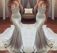 dos gris robes de soirée achat en gros de-2019 nouveau Sexy Silver Grey Silver Mermaid Cristal Sweetheart robes de bal dos ouvert robes de soirée formelles moderne