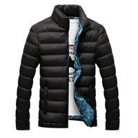 ingrosso cappotto caldo del parka sottile-giacca in denim Winter Men 2019 cotone imbottito spessa giacche Parka Slim Fit manica lunga trapuntato capispalla abbigliamento caldo cappotti 6XL