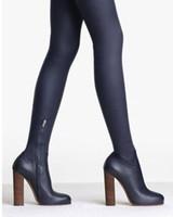 cuisse bottes de moto achat en gros de-Défilé de mode femmes cuisse slim stretch bottes hautes bloquer les talons hauts bottes au-dessus du genou bottes automne hiver moto Bottillons
