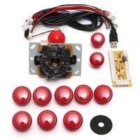 ingrosso parti di giochi arcade-I giocatori Doppio Rosso gioco Encoder fai da te gioco arcade Console Set Kit parti di ricambio USB a PC doppio joystick e pulsanti