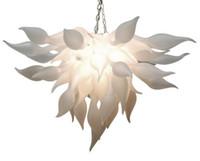 fornecedores de lâmpadas led venda por atacado-Artístico Branco Murano Lustre de Luz China Fornecedor Barato Mão Lustre de Vidro Soprado para Art Decor Lâmpadas LED