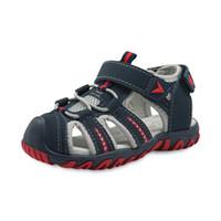 ingrosso ragazzi scarpe dita dei piedi-Europa e Stati Uniti Summer Baby Boys Scarpe casual PU gomma Beach Shoes Close Toe Ankle-Wrap Sandali per bambini