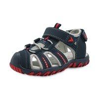 обувь для мальчиков резиновые пальцы оптовых-Европа и Соединенные Штаты Америки лето мальчиков Повседневная обувь PU резиновые пляжная обувь закрыть носок лодыжки обернуть детские сандалии
