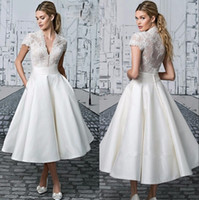 Wholesale vintage tea length wedding dress resale online - Vintage Lace Tea Length A Line Wedding Dresses V Neck Short Sleeves Short Bridal Gowns Simple Party Gowns BA2318