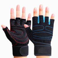 guantes de fitness mano al por mayor-1 Par Guantes guantes de montar Fitness Deportivo de la muñeca de la mano pesas medio dedo gimnasio de entrenamiento de culturismo Deportes