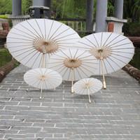 guarda-chuvas chineses venda por atacado-2019 guarda-sóis do casamento de noiva chuvas de papel branco chinês mini-guarda-chuva de artesanato 4 Diâmetro: Guarda-chuvas de casamento 20,30,40,60cm para atacado