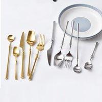 Wholesale high tea china sets resale online - DLM2 High grade Gold Cutlery Flatware Set Spoon Fork Knife Tea Spoon Stainless Steel Dinnerware Set Luxury Cutlery Tableware Set wn678 set
