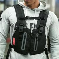 Reflective Tactical Vest Men Outdoor Protective Chest Bags Exercise Rig Bag Hip Hop Streetwear Men Training Clothing Backpack Waist Bag UK-3