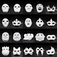 diy parti halloween maskeleri toptan satış-Papper DIY Parti Maskesi Yaratıcı Boyama Cadılar Bayramı Chirstmas Parti Maskesi Çocuk Kadın Erkek DIY Yarım Yüz Tam Yüz Maskeleri HHA666