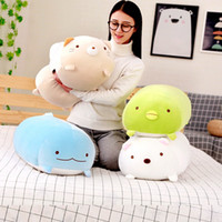 Wholesale doll cats online - New Cartoon Plush Toys Dinosaur Penguin Cat Bear Dolls Bolster Pillows for Party Kid Birthday Gifts Collecting Home Decorations
