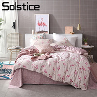 Wholesale love bedding sets king for sale - Group buy Solstice Home Textile Pink Flamingo Love Bedding Sets Girls Adult Teen Linen Duvet Quilt Cover Pillowcase Bed Sheet Queen