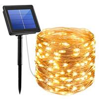 guirlande de fête solaire achat en gros de-Lumières actionnées solaires, lumières de fil de cuivre de 200 LED, lumières solaires imperméables intérieures / extérieures de décoration pour des jardins, maison, danse, partie