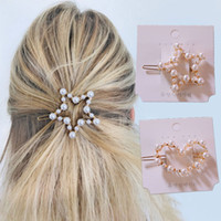 Wholesale frog hairs resale online - Fashion Pearl Hair Clips for Women Hairgrips Korea Headwear Adult Geometric Girl Hairpin Clip Hair Accessories Frog Buckle