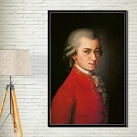 Wholesale artist home paintings resale online - P821 Wolfgang Amadeus Mozart Famous Musician Artist Retro Art Painting Silk Canvas Poster Wall Home Decor