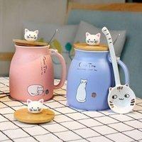 colher de sorte venda por atacado-Caneca de cerâmica dos desenhos animados em 3D gato canecas caneca de café com colher de tampa de bambu bonito pet presente de natal sorte copo