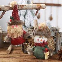 ingrosso bambole vestite da uomini-Ciondolo di bambola di juta di Natale Cartone animato Vecchio pupazzo Appeso scena Agghindare ornamenti Scena di Natale Ciondolo di bambola in maglia di juta
