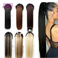Wholesale long straight drawstring ponytail for sale - Group buy 22 quot Long Straight Ponytails for Women Heat Resistant Synthetic Hairpiece Drawstring Fake Hair Pony Tail Extensions