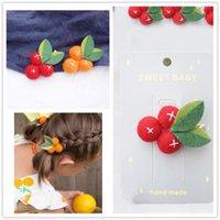 Wholesale handmade felt clips resale online - 2019 Children s Headdress Small Orange Felt Ball Girl Hair Clips Fruit Leaves Hairpins Handmade Barrettes Kids Headwear