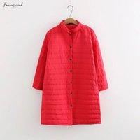 красное мягкое пальто оптовых-Плюс размером Длинной тонкой Красных ватной Осени Толстых Зимние куртки Женщина Хлопок Padded Coat Outwear Теплых Куртки Parka Feminina