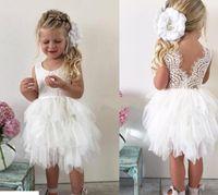 vestidos hasta la rodilla al por mayor-2019 Longitud de la rodilla Infant Toddler Flower Girls 'Vestidos para la boda blanco Falda linda del tutú del cordón Niñas Princesa Baby Vestidos del desfile