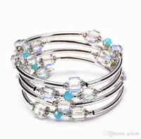 pulsera cuadrada círculo al por mayor-Natural Square Crystal Winding Bracelet Fashion Multi Circle Multi Lady Bracelet Pefect para mujeres y niñas