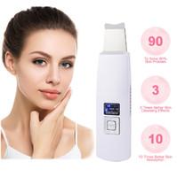 ultrasonlu yüz kırışıklıkları toptan satış-Ultrasonik Yüz Gözenek Temizleyici Ultrason Cilt Scrubber Soyma Yüz Masajı Güzellik Cihazı Yüz Germe Kırışıklık Kaldırma Sıkın