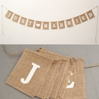 Wholesale bunting garlands for sale - Group buy New Design Jute Rope Flax Wedding Photo Props Banner Jute Burlap Bunting Just Married Rustic Garland Party Wedding Decoration