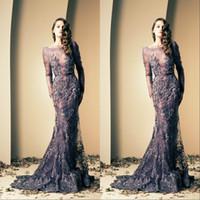 küçük boyutlu elbiseler özel günler toptan satış-Koyu Lacivert Abiye Zarif Arapça Mermaid Uzun Kollu Örgün Özel Durum Elbise Balo Parti Kıyafeti Artı Boyutu vestidos de dresses