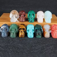 Wholesale skull head chain resale online - Natural Stone Skull Pendant Necklaces with Leather Chains Crystal Agate Jade Turquoise Carving Skeleton Head Gemstone