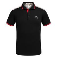 erkekler için şık polo gömlekler toptan satış-Erkekler Tasarımcı Polo Gömlek 2019 Yaz Kısa Kollu Polo Tees Yaka T-Shirt Şık Ekose Baskılar Desen Yaz Patlama Ince Polo Gömlek
