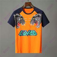 remiendo camisetas impresas al por mayor-Diseñador de ropa de marca hombres camiseta naranja letra animal estampado de lobo camiseta amada patchwork manga camiseta Casual mujer camiseta de algodón camiseta Top