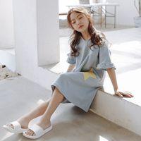 pijamas princesa crianças venda por atacado-Meninas camisola pijamas de algodão de verão para crianças de mangas curtas princesa coreana bebê grandes crianças serviço de casa fina pai-filho