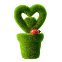 ingrosso piante in erba artificiale in vaso-Cuore vuoto Erba artificiale Bonsai Piccolo albero Piante in vaso Fiori finti Ornamento in vaso Home Office Decorazione di nozze