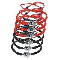 ingrosso bracciale kabbalah hamsa mano-6 pezzi intrecciati string kabbalah bracciali rotanti malocchio hamsa mano per protezione braccialetto rosso / nero stringa c-021