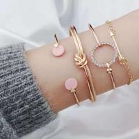 pulsera redonda para las niñas al por mayor-Diamantes redondos brazalete de nudo pulseras para las mujeres Cadena de flechas de Cupido niña pulsera de diseñador de lujo conjunto oro plata joyería de moda