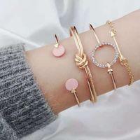 ensemble de bracelet en diamant achat en gros de-Diamants bracelets de bracelets de noeuds ronds pour les femmes Les chaînes de flèche de Cupidon fille Bracelet de créateur de luxe serti de bijoux à la mode en argent