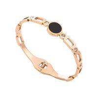 nova tendência braceletes ouro venda por atacado-2019 novo aço inoxidável Rosa de Ouro Preto Acrílico Dot Abertura tendência Womans pulseira de moda jóias simples para mulher