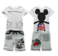 ingrosso ragazzo capretto bambino-2019 Baby Boy Abbigliamento Set Bambini Sport Tute Abbigliamento per bambini Set per bambini T-Shirt in cotone + Pantaloncini Infantis