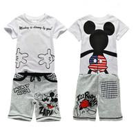 ingrosso vestiti sportivi dei neonati-2019 Baby Boy Set di abbigliamento Bambini Tute sportive Per bambini Set di abbigliamento per bambini T-shirt in cotone + pantaloni corti Infantis
