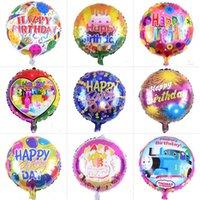 kinder aufblasbare ballons großhandel-18 Zoll aufblasbare Geburtstag Ballons Dekorationen Blase Helium Ballon alles Gute zum Geburtstag Folienballons Großhandel für Kinder