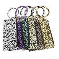 Wholesale leather wrist phone holder for sale - Group buy Leopard Clutch Bag Keyrings Keychains Charm Holder Wristlet Bracelet Bangle Car Key Chain Rings for Women Girls Lady Fashion Wrist Phone Bag