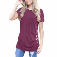blusas cortas bajo al por mayor-Camisa para mujer Camisa de manga corta con botones sueltos Borde de color sólido Cuello redondo Camisa túnica Dobladillo irregular