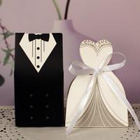 ingrosso scatole regalo del vestito da cerimonia nuziale-100 pezzi sacchetti regalo abiti da sposo smoking abito abito carta mariage boda decorazione bomboniere nastro bomboniera scatole di caramelle